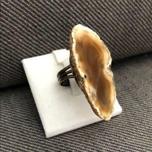 Polished stone statement ring